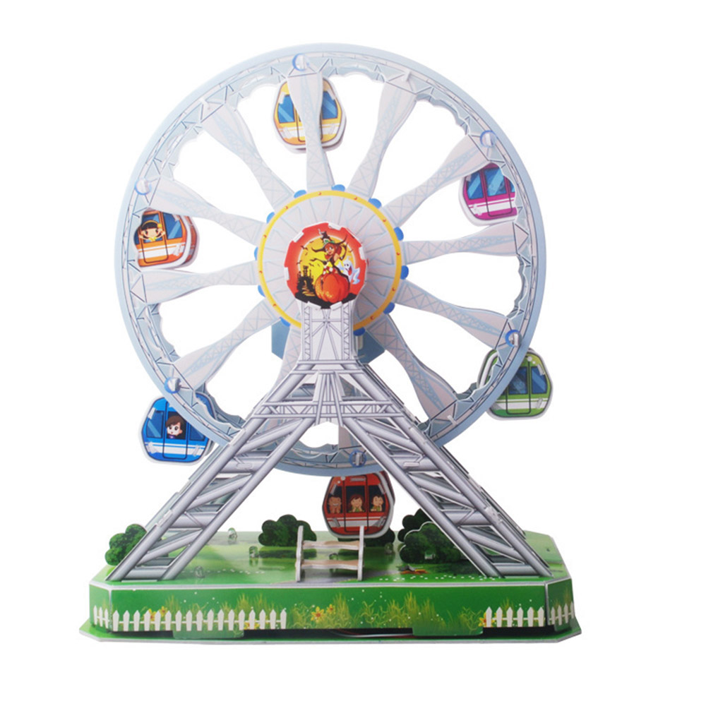Kids 3D Puzzle Rotating Flying Chair/Rotating Aircraft/Ferris Wheel Amusement Park with Music&Light DIY Educational Model Toy(China (Mainland))
