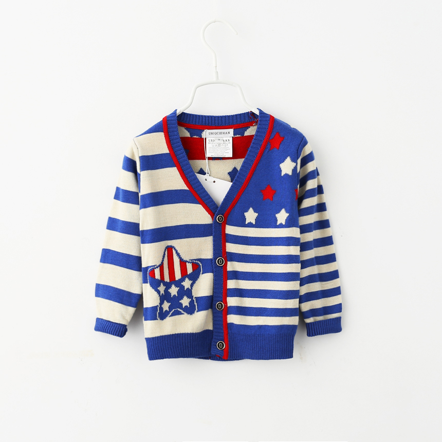 Baby Boys Striped Cardigan Sweater Coats Fall Autumn Children Clothing Five Pointed Star Toddler Kids Wholesale Clothes V-neck<br><br>Aliexpress