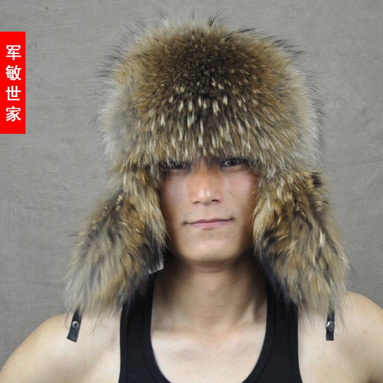 Male raccoon wool sheepskin lei feng cap raccoon fur hat sheepskin hat(China (Mainland))