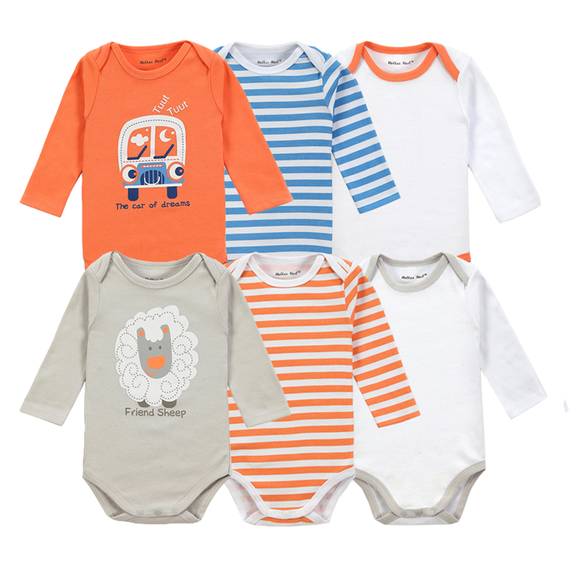 6 Pieces Brand Baby Girl Clothes Boy Long Sleeve Bodysuits New Born Clothing With Character Printed Infant Jumpsuit Overall(China (Mainland))