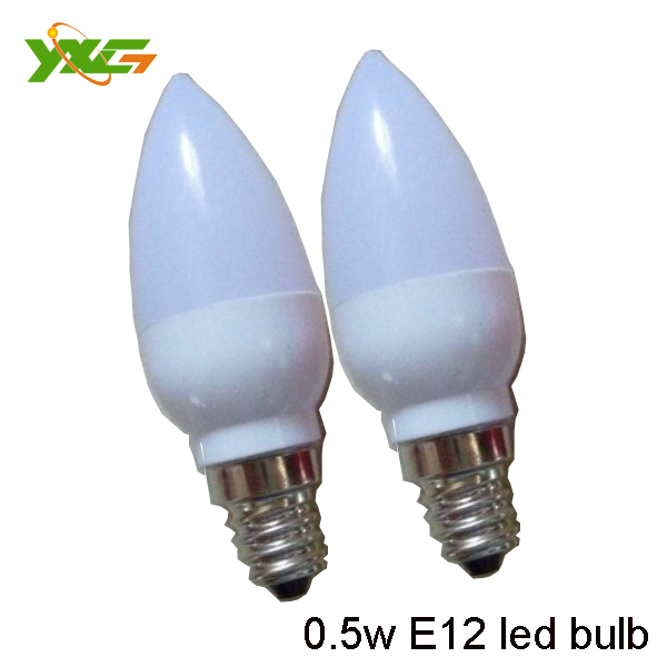 Free shipping 0.5W E12 led candle bulb 110v or 220v 80lm/w red or wihte for christmas led strip(China (Mainland))