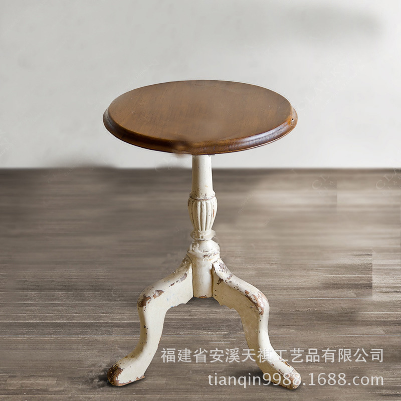 C American casual coffee table antique wood-carved small table round coffee table a few side a few corner-made(China (Mainland))