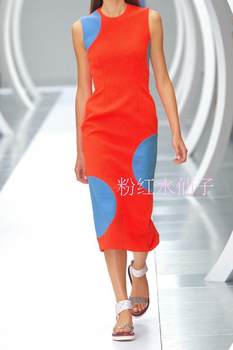 2015 Summer Dresses Women Dress Fashion Dress A little blue round big red dot dress(China (Mainland))
