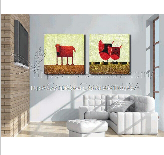 Cow Chicken Moder Home Decor Wall Art On Canvas Oil