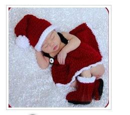 Children's cartoon studio photography clothing newborn baby sweaters hand-knit wool dress Christmas pictures(China (Mainland))