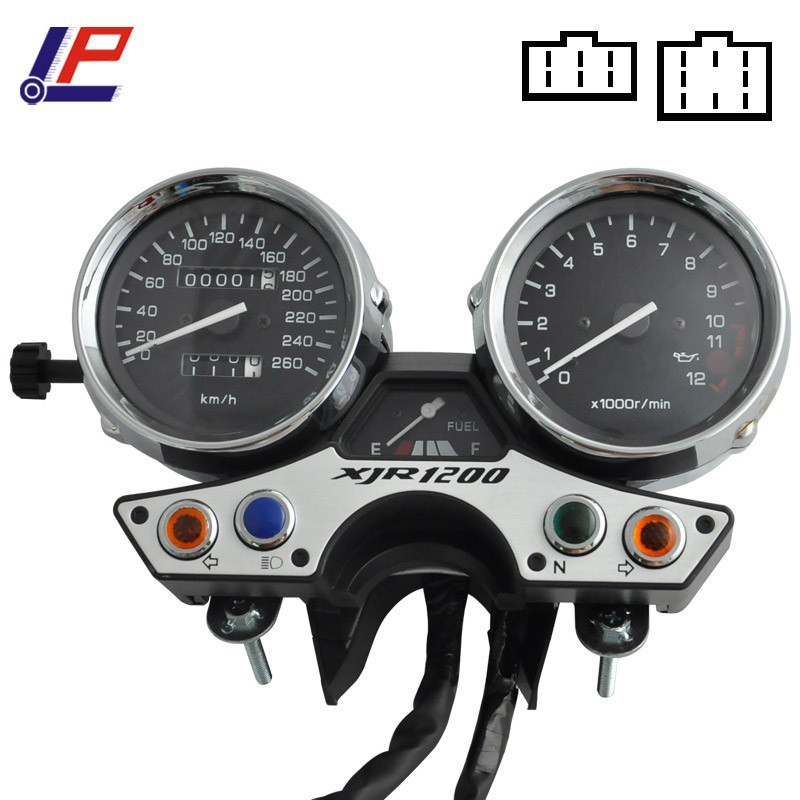 For XJR1200 1989-1997 XJR 1200 89-97 Motorcycle Gauges Cluster Speedometer Tachometer Odometer KM/H RPM Instrument Assembly