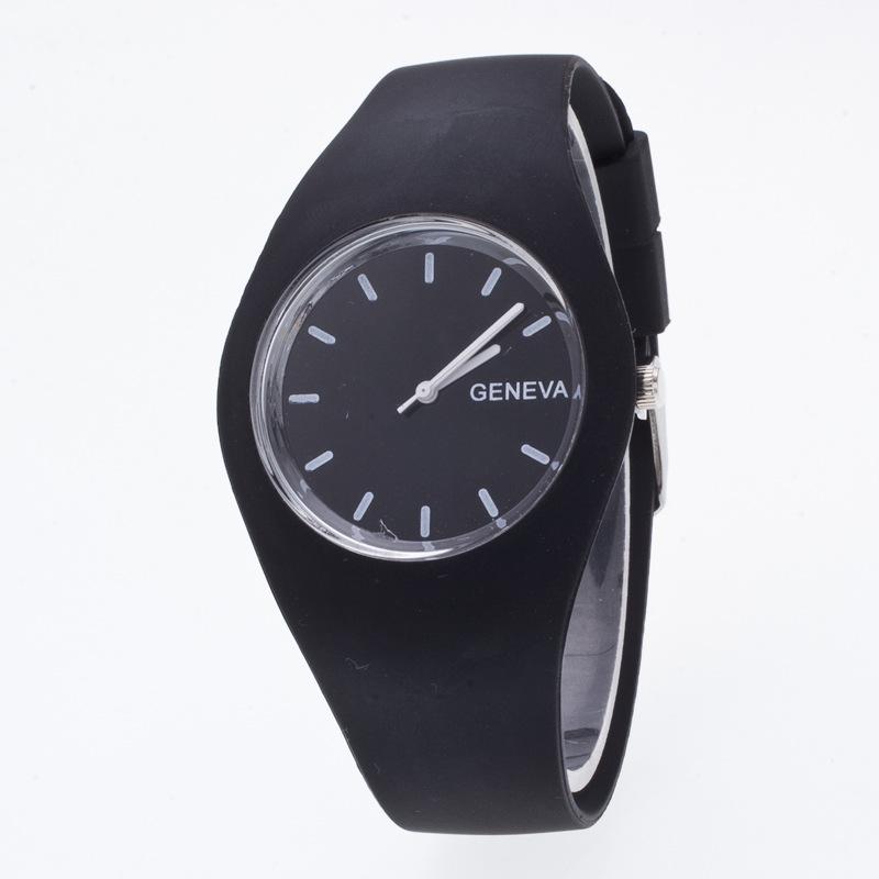 Fashion Geneva Jelly Cute Silicone Rubber Gel Quartz Wrist Watch Clock for Women Girls Boy Children 12 Colors Black White(China (Mainland))