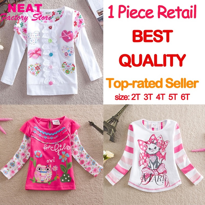 Retail 2016 new brand kid t-shirt girl long sleeve baby lace print t shirt child clothes wear top cartoon nova princess L339 MIX(China (Mainland))