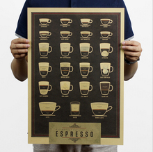 H166 Ratio of espresso Nostalgic restoring ancient ways Kraft paper posters coffee decoration posters restoring ancient ways(China (Mainland))