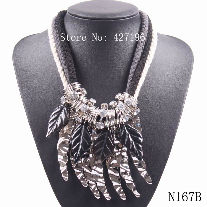 fashion autumn new arrival crystal big cotton string chunky statement leaf pendant necklace for women(China (Mainland))