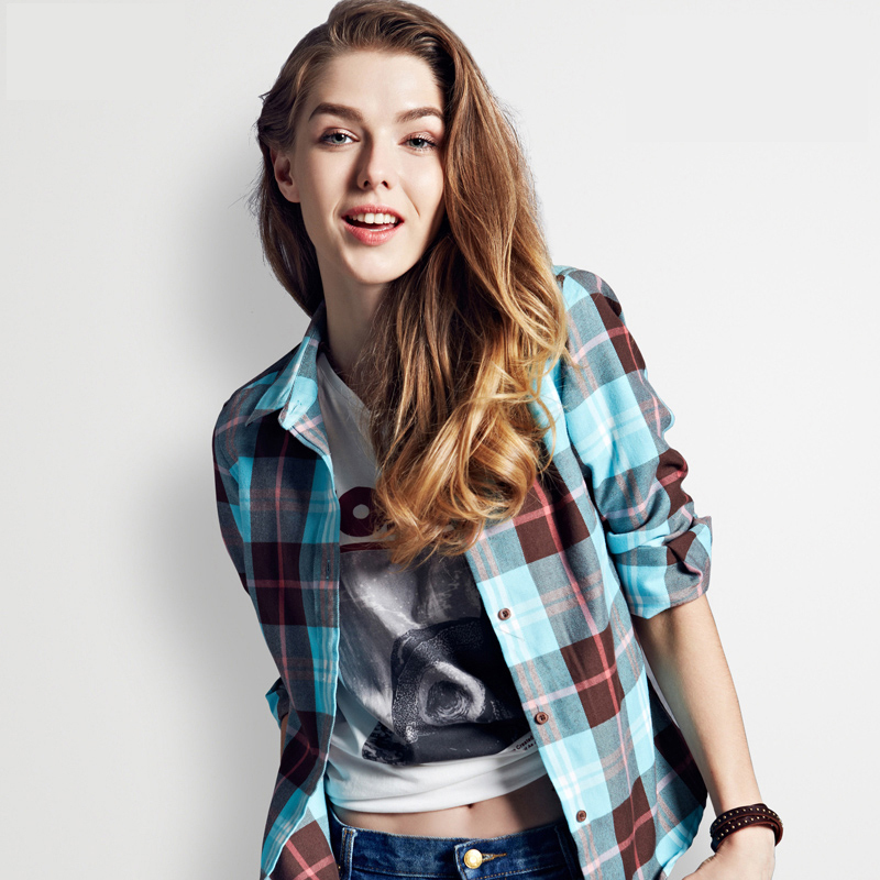 Free shipping 2015 hot style  Women Blouses  long Sleeve Plaid Flannel Slim Boutique Feminine Checkered leisure pure cotton(China (Mainland))