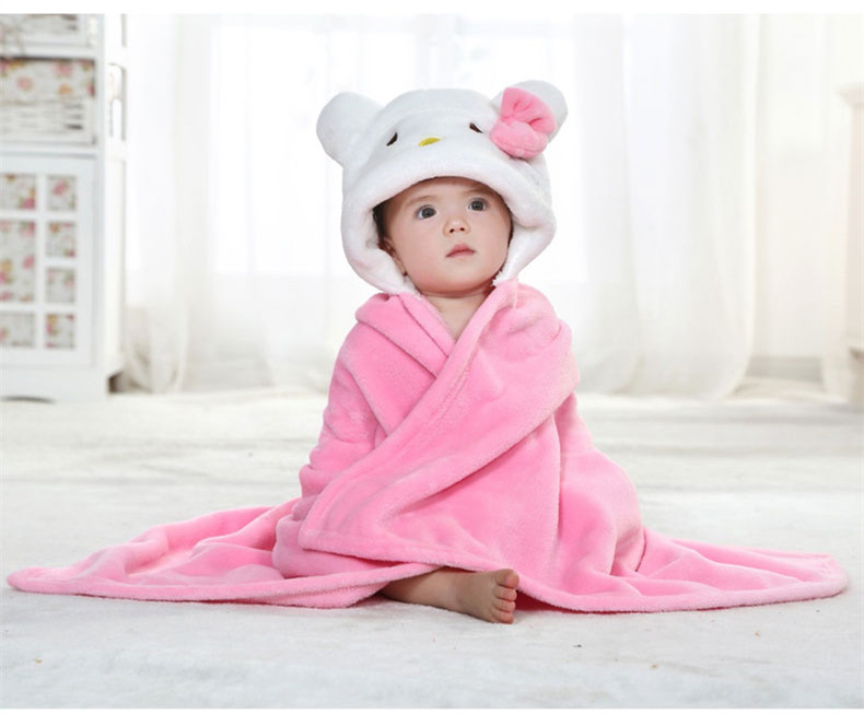Fashion Animal Baby Clothes Unisex hello kitty cat Shaped Cloak Infant Cloak Flannel Monolayer Clork(China (Mainland))