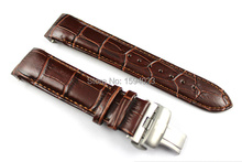 23mm (Buckle 20mm) T035617A T035439 High Quality Silver Butterfly Buckle + Brown Genuine Leather curved end Watchband belts man