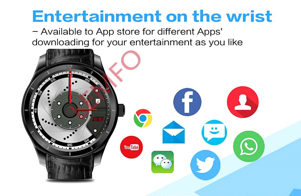 image for New  Q3 1.39 Inch Screen Android 4.4 MTK6572 Smart Watch Phone Sim Car