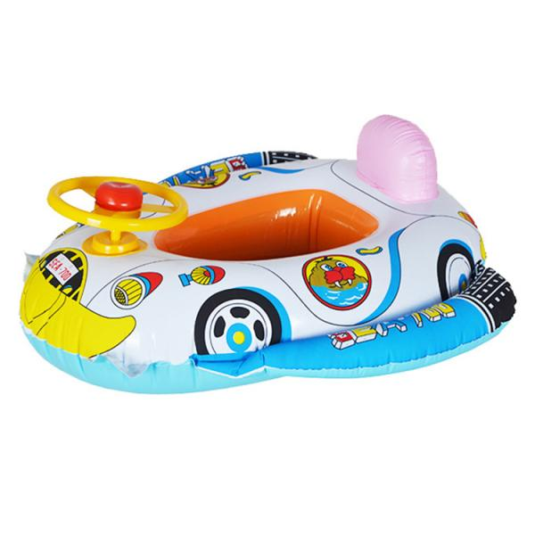 Cute Kids Baby Inflatable Swimming Pool Swim Ring Seat Float Boat w Wheel Horn Swimming Aid(China (Mainland))