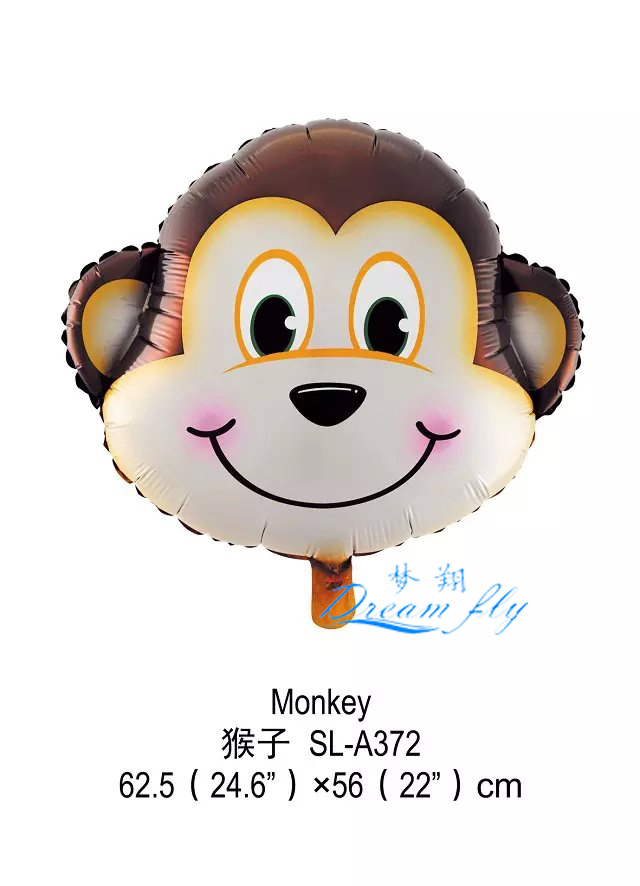 Free shipping Monkey head shape foil balloon animals shape  cartoons finger ballloon<br><br>Aliexpress