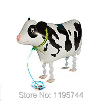 10pcs/Lot, Free Shipping, Wholesale,Cow Pet Walking Animals Balloons Hulium Mylar Balloons, Baby's toy, Party Decoration. .(China (Mainland))