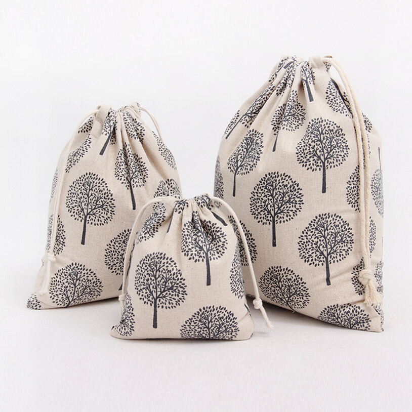 Black Trees Cotton Linen Storage Bag Eco-Friendly Shopping Tea/candy/key Package Drawstring Bag Small Cloth Bag Christmas Gift(China (Mainland))