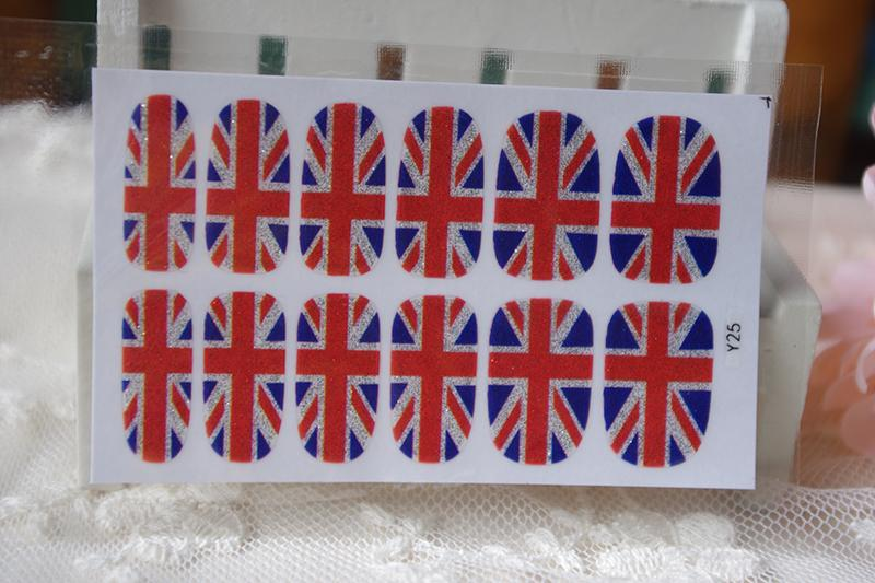 Y5025 Manicure Glitter Decor Foil Decals Adhesive Nail Art Stickers UK British flag Design Full Cover Nail Wraps Sticker <br><br>Aliexpress