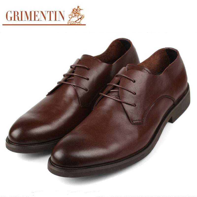 GRIMENTIN Fashion softe genuine leather mens casual shoes black brown basic flats for men business wedding size:6-10 #758(China (Mainland))