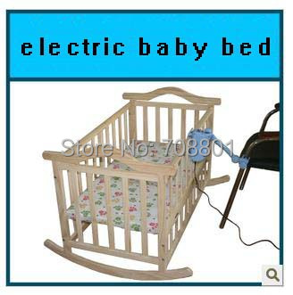 No radiation Electric rocking baby bed baby cradle baby swing pine cribs no paint safety child bed mosquito net(China (Mainland))