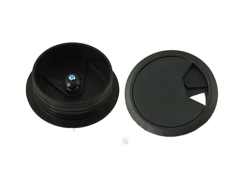 60mm Black Pc Computer Desk Table Plastic Grommet Cable