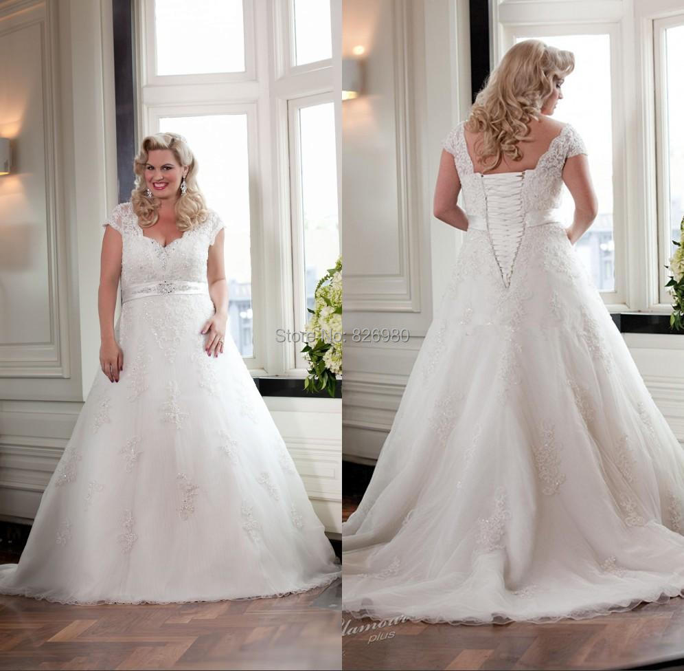 Hot cheap plus size wedding dresses 2015 sexy lace v neck for Cheap plus size lace wedding dresses