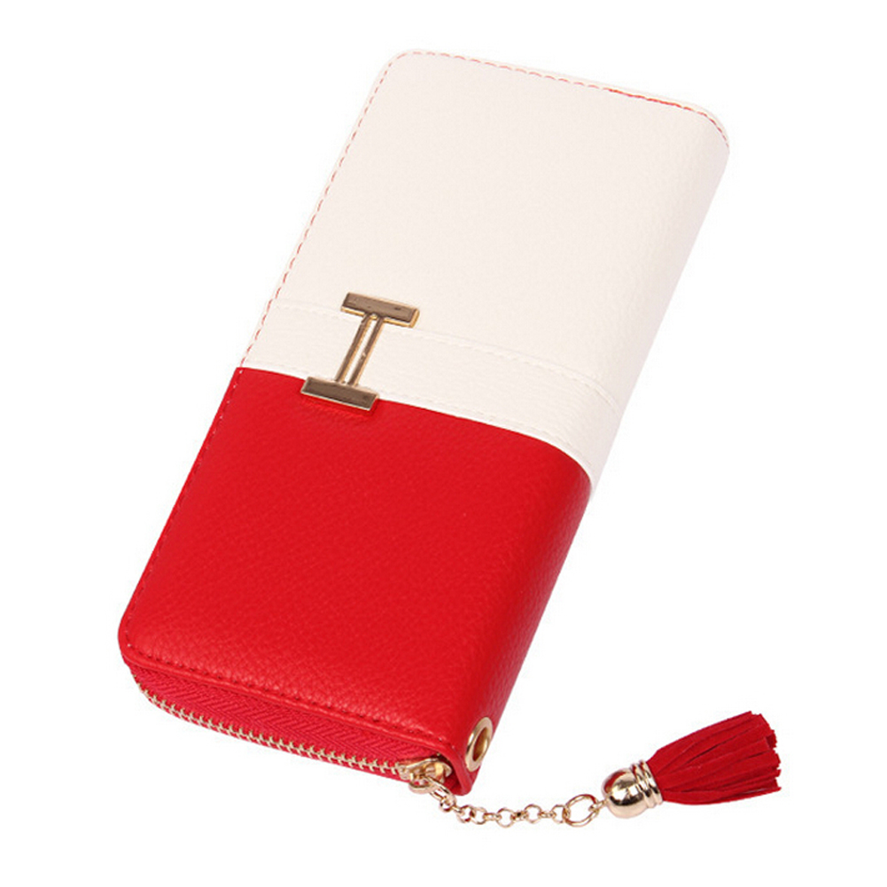 TEXU Women Fringe Purse Wrist day Clutch Lady Wallet Zip Around Tassel Trap Card Slot Bag Wristlet red(China (Mainland))