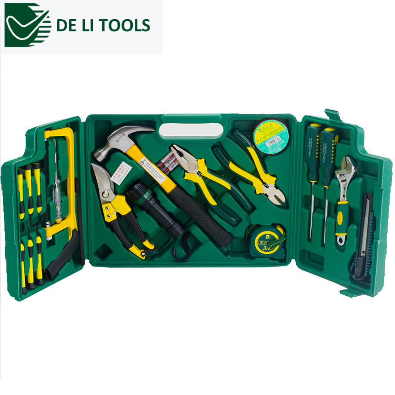 DE&amp;LI 20 in 1 High-Grade Household Multifuncional Hand Tool Set DL1020G Saw Piler Wrench Screwdriver Knife Flashlight Tapr Tools<br><br>Aliexpress