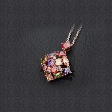 Teemi New Fashion Women Square Colorful Zircon Pendant Necklace 18K Rose Gold Plated Women Anniversary Jewelry