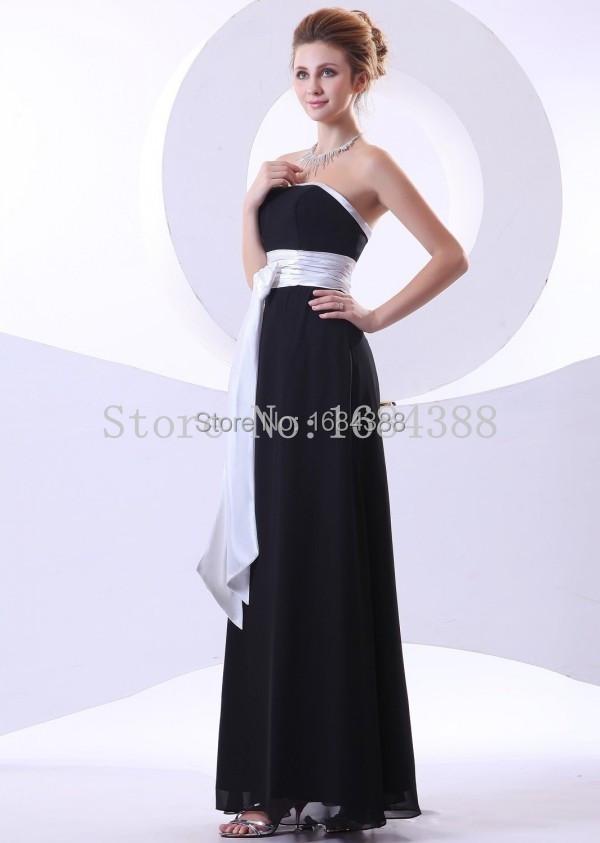 Simple Elegant Black A Line Bridesmaid Dresses Stapless Chiffon Bridesmaid Dress With White Sashes Vestido Longo 2015(China (Mainland))