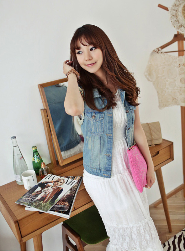 2015 summer style Female casual vintage slim denim vest , women crop tops Denim Short sleeveless jacket plus size - Honesty Fashion store