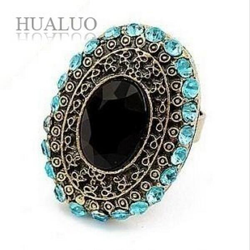 Hot Selling European Style Personalized Vintage Oval Gem And Crystal Retro Ring for Women  Adjustable Size R343