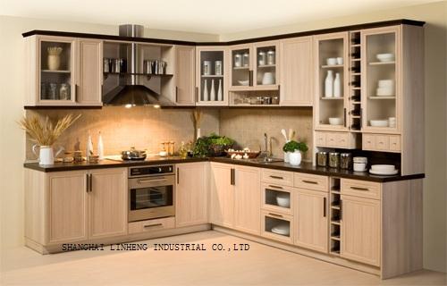 Modern solid wood kitchen cabinet lh sw008 in kitchen for Solid wood modern kitchen cabinets