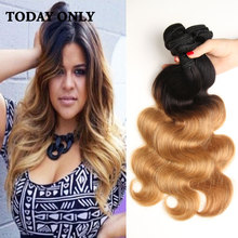 Buy Today Only Hair 1B 27 Peruvian Body Wave 3 Bundles 10A Grade Ombre Peruvian Virgin Human Hair cosplay Weave Body Wave Bundles for $89.21 in AliExpress store
