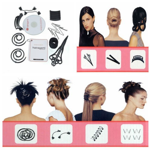 Hairagami Beauty Salon Hairstyle Styling Total Hair Makeover Kit chignon Sets Styles Accessories Women Headwear As Seen On TV(China (Mainland))