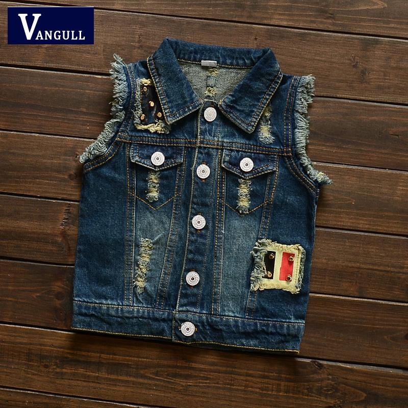2016 autumn and winter fashion classic hot boy washed denim vest vest button hole print word vest(China (Mainland))