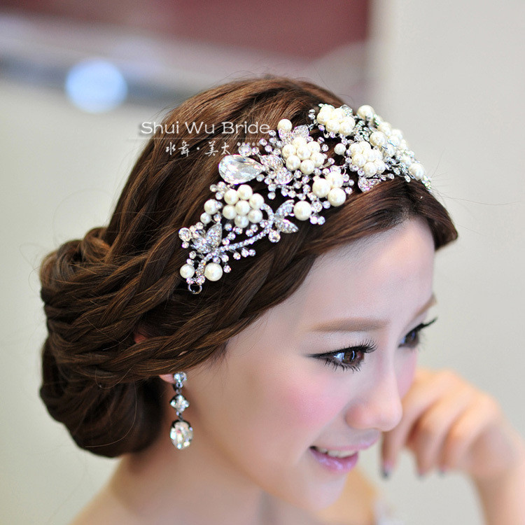 Горный хрусталь бисер супер люкс перл свадебный аксессуары для волос hairbands люкс тиара волос износ оптовая