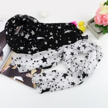1pcs New super soft Women Black White Stars  Long Chiffon Neck Wrap Scarf Stole(China (Mainland))