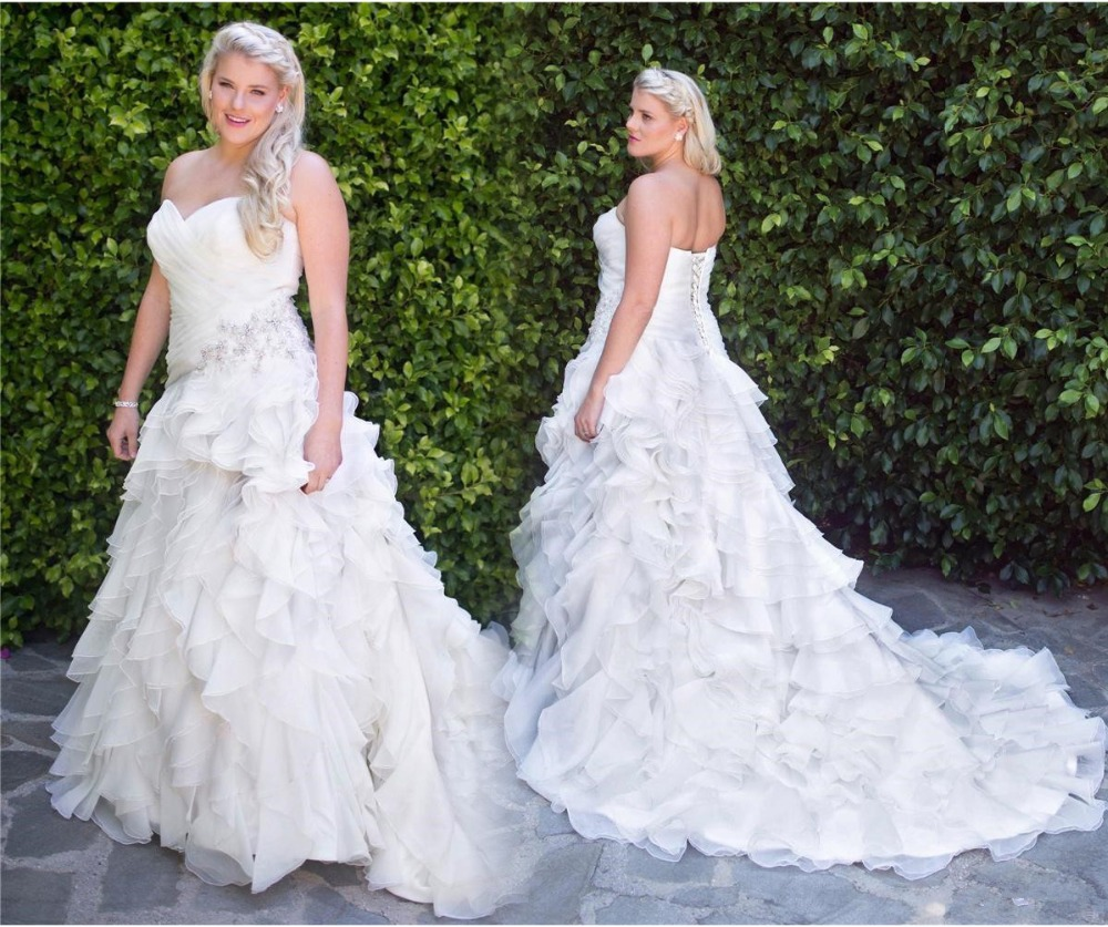 Plus Size Wedding Dress 2016 Sweetheart Sleeveless Ruffle Tiered A Line with Lace up Back Organza