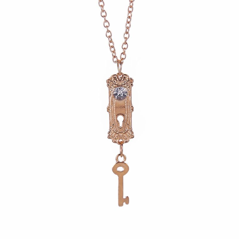 Hot Selling vintage Alice in Wonderland necklace lock and key pendant jewelry for girls lady women lovers wholesale<br><br>Aliexpress