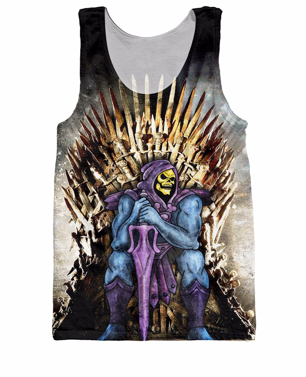 Unisex Women Basketball Jersey Skeletor Conquers the Realm Tank Top Cartoon He-Man and the Masters of the Universe Vest tees(China (Mainland))