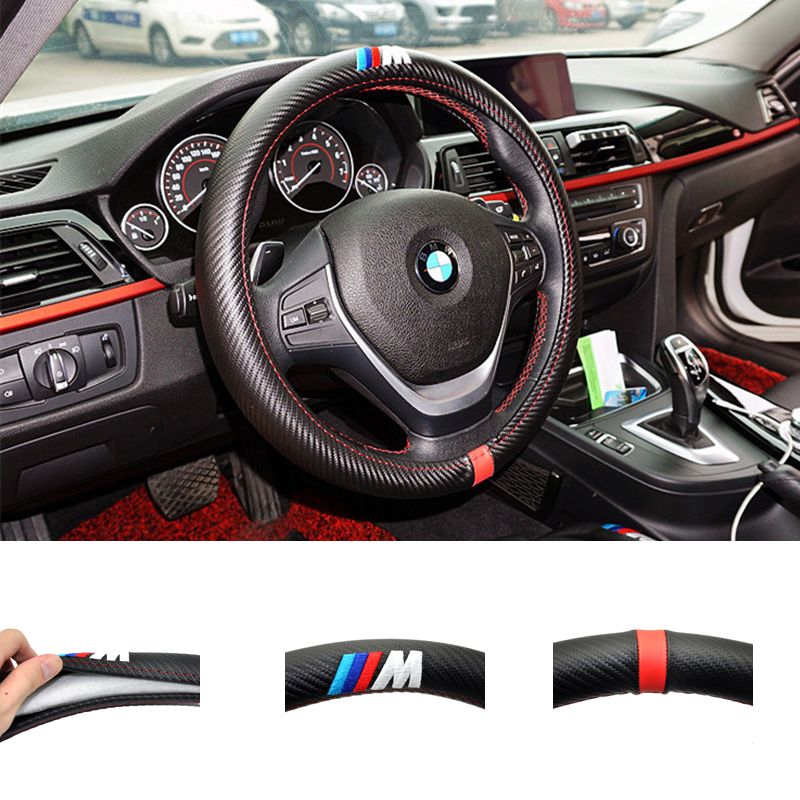 Car-Styling M Carbon Fiber Leather PU Steering Wheel Cover For BMW X1 X2 X3 X4 X5 X6 M1 M2 M3 M4 M5 M6 M7 Series(China (Mainland))