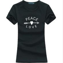 PEACE & LOVE printed women t-shirt arrow heart funny casual tee shirt femme 2016 summer fashion brand harajuku punk kawaii tops