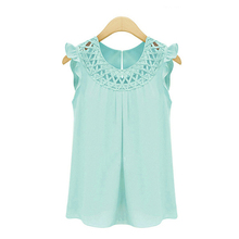 Womens Clothe Svetement Vintage Femme Summer Chemise Sleeveless Blouses Chiffon Blouse Woman Clothes White Shirt Camisas Mujer