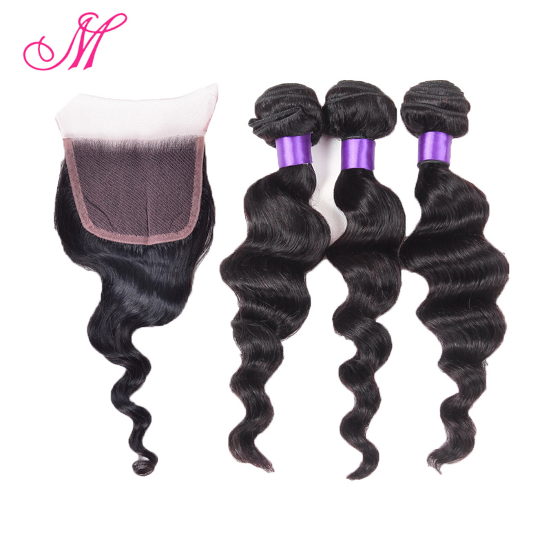7A Peruvian Virgin Hair With Closure 3 Bundles Peruvian Loose Wave With Closure Ms Lula Hair With Closure And Bundles