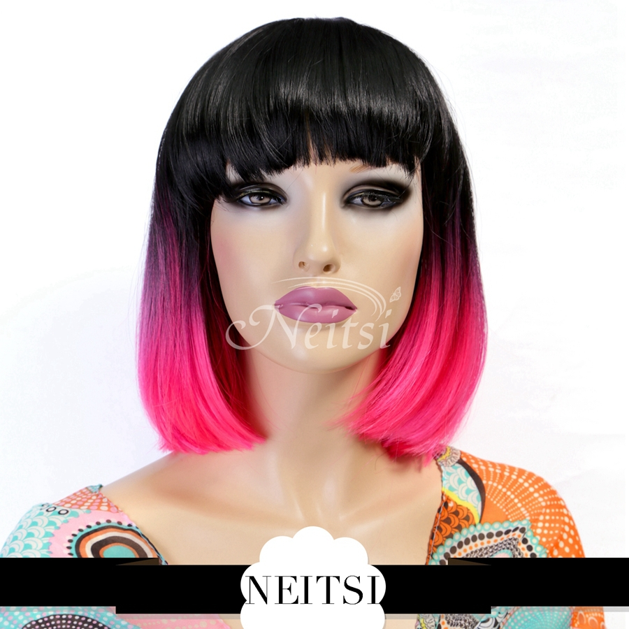 """Neitsi 14"""" Synthetic Hair Cosplay Bob Wigs 1pc Ombre Pink Colored Short Lolita Wig Straight Fast Shipping(China (Mainland))"""