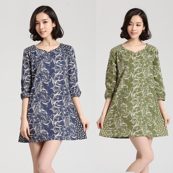 big size clothing 863 2014 small fresh national trend vintage print fluid half sleeve one-piece dress(China (Mainland))