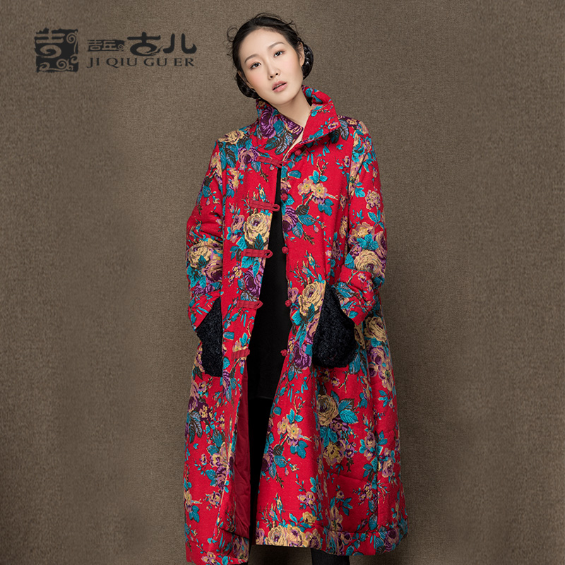 Jiqiuguer Original Design Winter Floral Warm Coats Long Thicken Cotton-padded Outwear Stand Collar Loose Print Cotto JacketОдежда и ак�е��уары<br><br><br>Aliexpress