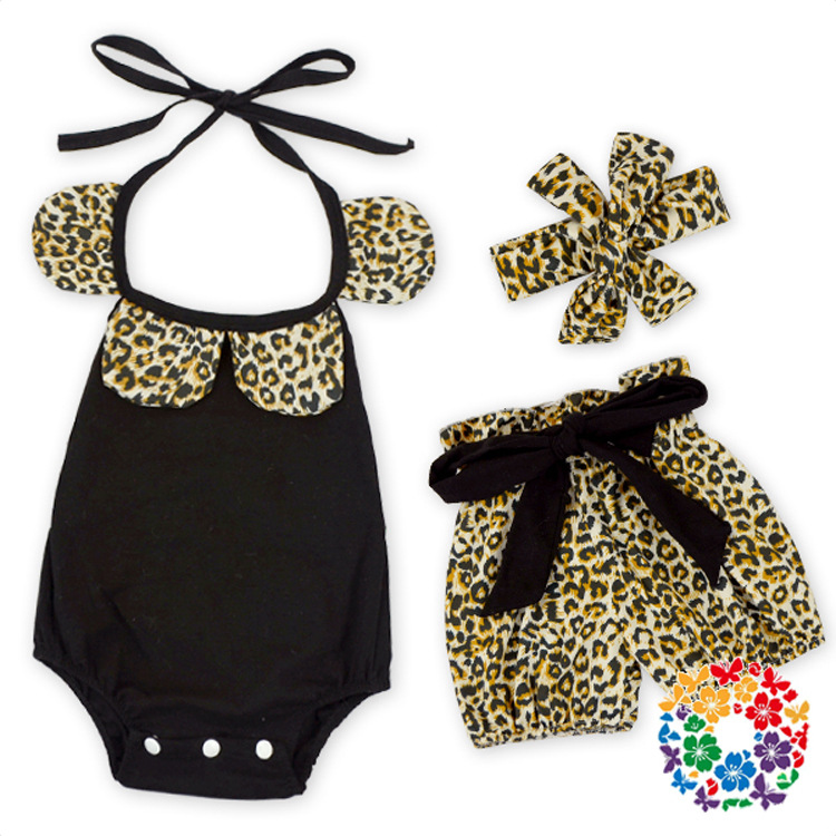2016 new toddler cheetah girls clothes ,collared baby outfit animal printed baby girls romper ruffle short set newborn birthday(China (Mainland))